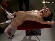 Slim Girl Tied To Desk Getting Her Mouth And Pussy Fucked Stimulated With Toys By 3 Guys