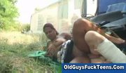 Old man fucks brunette teen outdoors