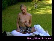 Petite girl masturbating outdoor