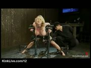 Busty bound blonde machine fucked