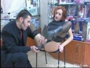 beauty redhead gets assfucked in a sex-shop