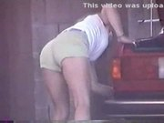 Cancdid carwash yellow shorts milf