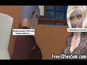 Horny mature stud fucking a sexy 3D blonde vixen