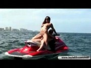 Kristal Main takes a ride on a jetski