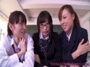 Stunning japanese schoolgirl tasting creampie