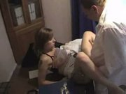 Brunette from homemade college russian orgy vid 2