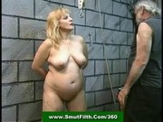 Chained slavegirl misused fucked and jizzed by her master