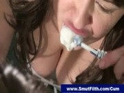 Brunette brushes teeth with cum after blowjob