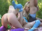 Three teenagers pleasuring each other in forest