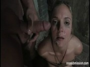 Bondage brunette blowjob facial