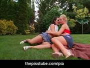 Lesbian kissing and pussy eating in the park