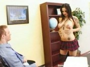 Naughty goth schoolgirl uses her nice tits and round ass to get out of trouble