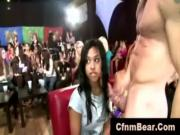 Party girl amateur jizzed by CFNM stripper