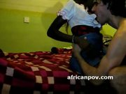 Dark african hottie sucks dick and doggystyle on spycam