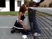 Black maid outdoor sporty fuck