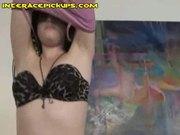 Young brunette striptease