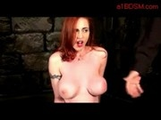 Busty Redhead In Stockings Spanked Whipped Masturbating With Vibrator While Nipples Pinched By Maste
