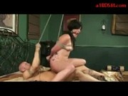 Bondaged Girl Getting Her Pussy Fucked Sucking Cock On The Bed