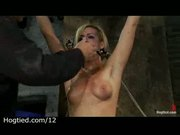 Gagged bound blonde flogged