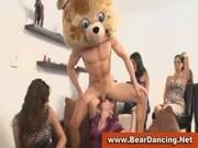 Bachelorettes having fun at cfnm male strip party