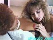 Sexy lesbian Sharon Mitchell licking Misty Rain pussy