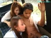 2 Hot Schoolgirls Sucking Kissing Guy One Of Them Fingered On The Bus