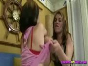 Livia and aline in tranny fucks pussy