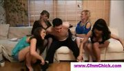 Four cfnm babes give handjob