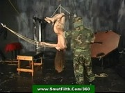 Slave girl in bondage abused by shibari drill sergeant