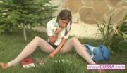 Beauty teenie masturbating at park