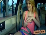 Cute teen Dakota Skye blows a guys big cock behind the wheel