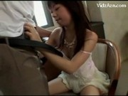 Young Girl In White Dress Getting Her Pussy Fingered Licked Sucking Cock In The Armchair