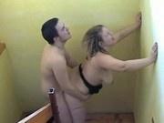 Youn Boy Fucking a Mature Russian Woman on Stairway