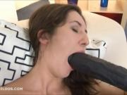 Horny brunette fills her pussy and mouth with long dildos