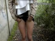 brunette teen outdoor casting