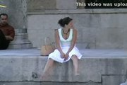 Wind blow up white skirt