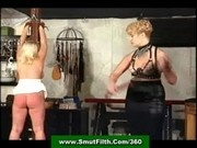 Blonde mature mistress whips slavegirl