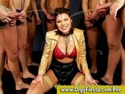 Brunette lady bukkaked and peed on by horny guys