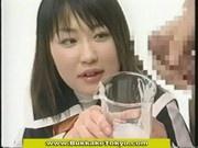 Cum drinking japanese cutie