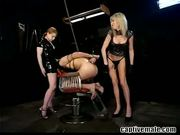 Man dominated by 2 girls