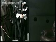 Nun slave praying for mercy is spanked by master priest on h