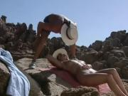 Nasty natural blonde gets some action on the rocks