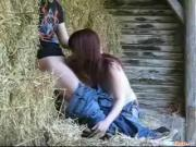 Sexy Redhead Gal Screws Throbbing Boner Outside