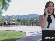 Secretary rides big black dick at interview