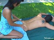 Japanese girl gives hot relaxing massage and a ...