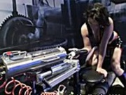 Automatic Dildo Machine Fucking Brunette