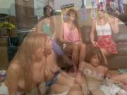 Bunch of pledges fondling each pussies in sorority house