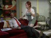 Red Head with big tits blows cock