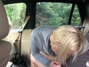 Blonde passenger drilled by fake driver in the backseat