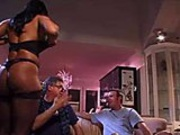 Juicy black slut with large tits and ass gets fucked hard on couch